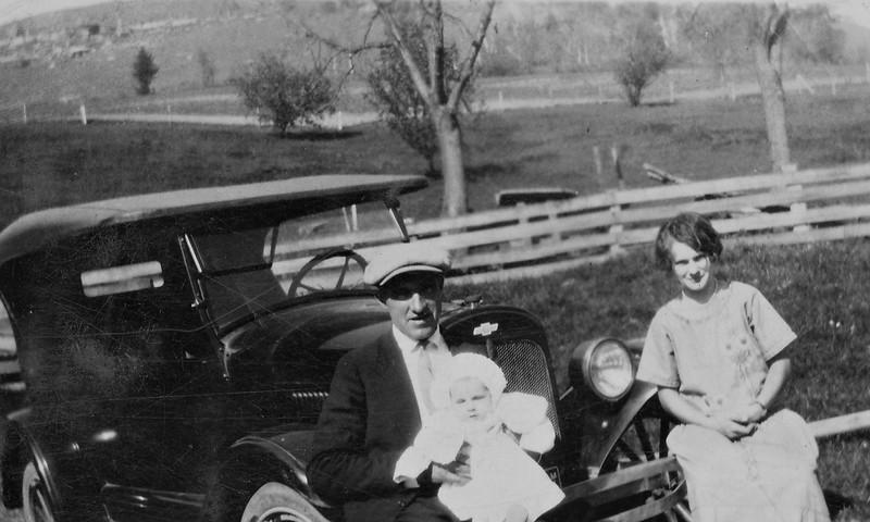 Joe, Verna, and baby Irene Von Arx.
