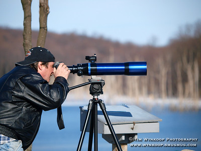 Harmony Township, NJ, 2008-03-02: Joe Girgenti, of Phillipsburg, a nature and astronomy enthusiast, uses his camera mounted to a tripod to photograph birds at the Merrill Creek reservoir in Harmony Township Sunday afternoon. (Photo by: Tim Wynkoop)