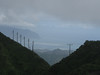 Looking over the summit towards the Kailua and the North Shore.  Power lines going over the mountain.
