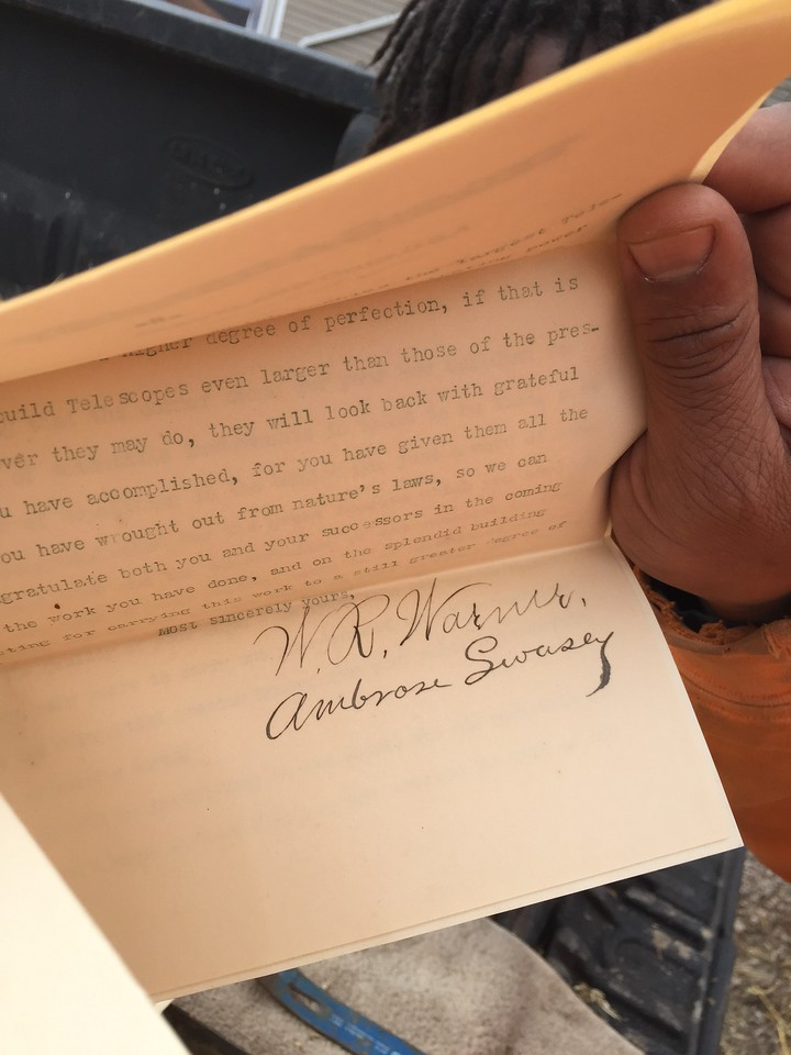 The Warner & Swasey letter was signed by both the founding partners.