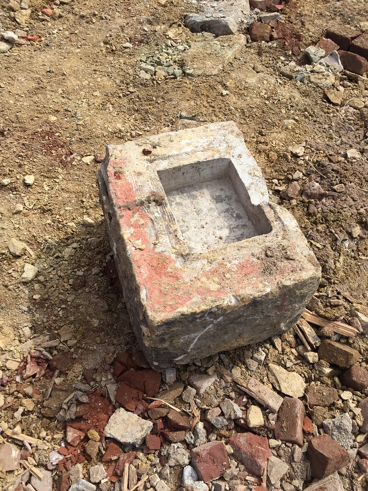 Picture of the cornerstone the time capsule was removed from.