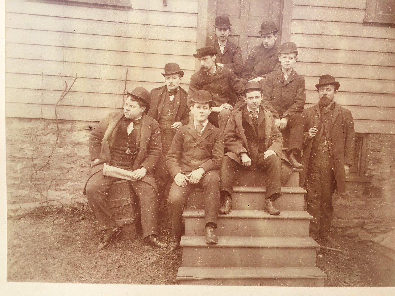 This is a picture of the employees of John A. Brashear's mechanical department dated August 1894. On the back of this they are listed by name.