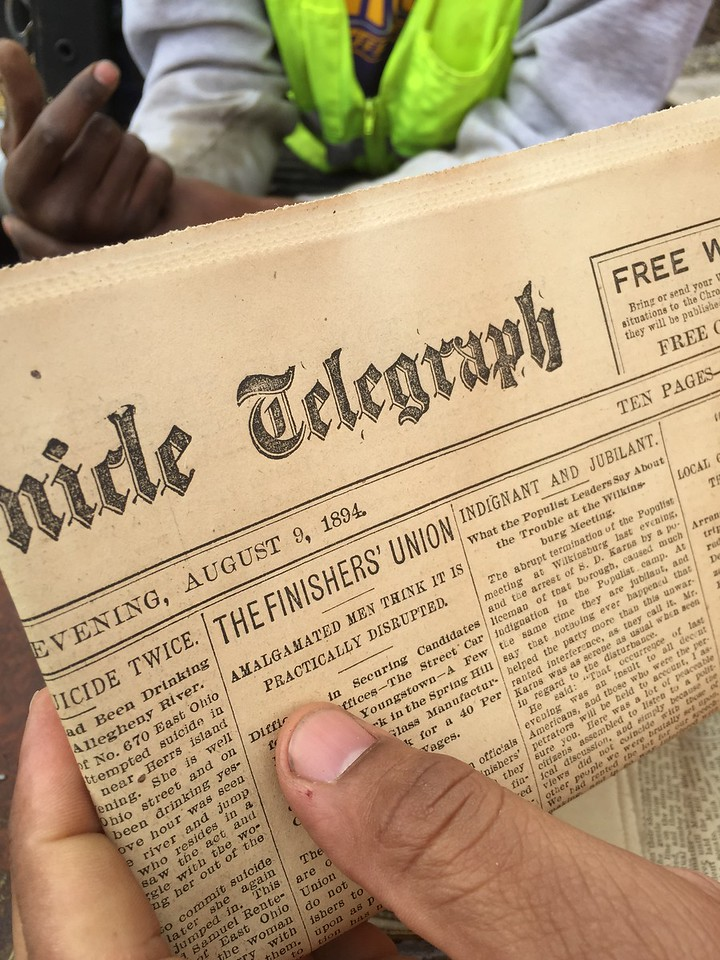 While a number of newspapers were found the earliest one dated 1891 but this one dated August 9, 1894 was of the most recent.