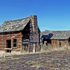 This old homestead was found on Beech Creek, just off Hwy 395 in Eastern Oregon.  Note the intricate rock work in the fireplace and mortised logs and sturdy construction.  Obviously not built for some old bachelor to live in.