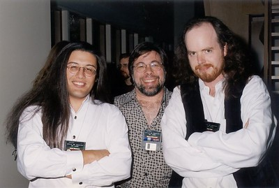 August 8, 1998 - the Apple II Reunion at Ion Storm.  This is a picture of myself, Steve Wozniak (our hero) and Tom Hall.  Awesome party!