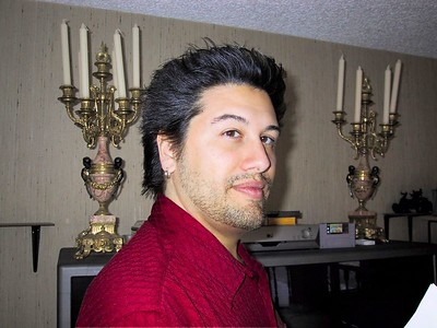 This is immediately after I got all my hair cut off at the start of 2002.  That's Tetris Attack in the SNES. :)