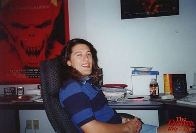 This was taken during Quake development in my office at id.  My favorite drink at the time, Snapple Lemon Tea there in the background.