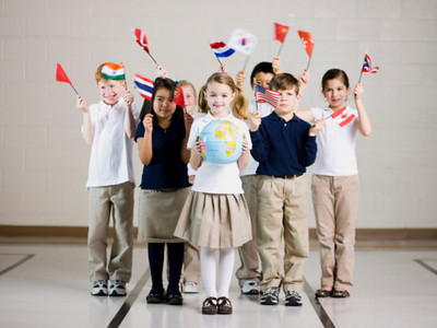 TA17.1 m556 / Choice 1 of 10 /school children waving flags of different countries