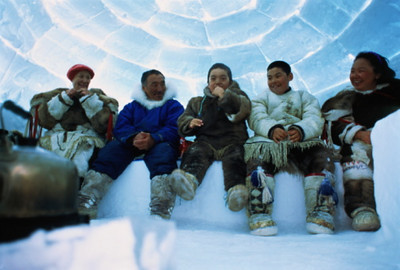 TA17.13 / m574 / This is the image on the VMS that the author would like to use from Getty. Canada, Nunavut, Baker Lake, Inuit family inside igloo, low angle view