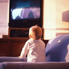 TA17.18  m581 / This is the image the author chose.   I included some others as well.<br /> <br /> Choice 1 of 7 / Baby girl (6-9 months) on sofa, looking at television, rear view