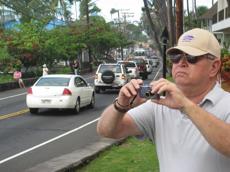 John out for walk in Kona