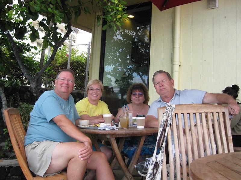 John, Wendy, Tom, Mary Ann at the Lava Java in Kona