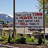 As you enter Joseph, Oregon, this sign greets the visitor.