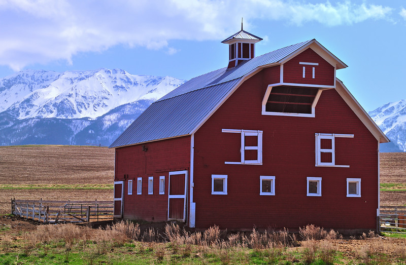 A springtime look at a classic red barn near Joseph, OR with the Wallowa Mountains in the background.