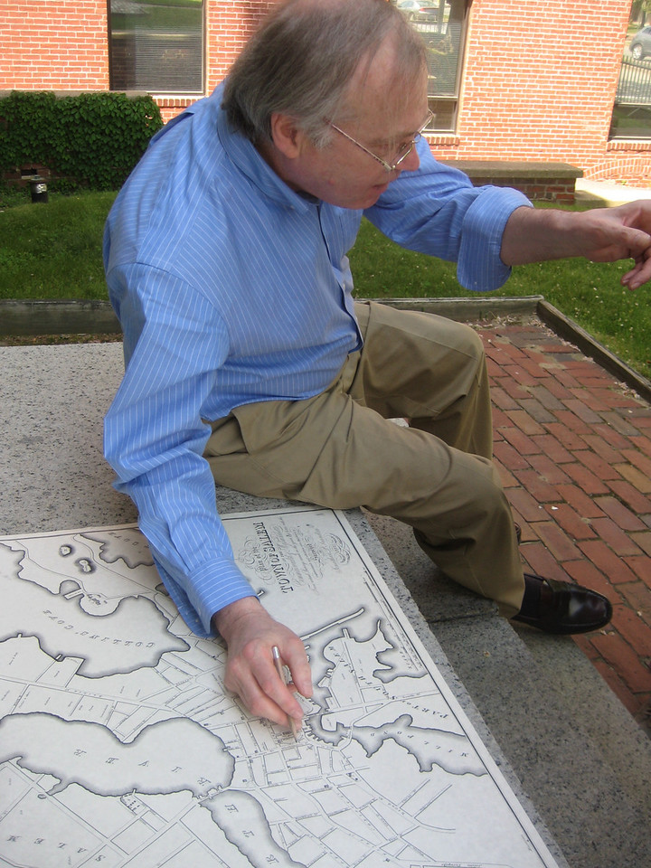 Robert (Bob) Murphy, owner of the Joshua Ward House and Higginson Book Co., met us at the front door with a map of how things used to be...