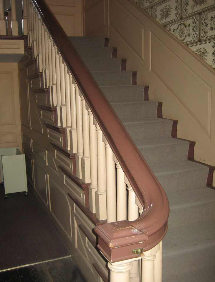 "Inside, our tour began with this original staircase by <a href=""http://en.wikipedia.org/wiki/Samuel_McIntire"">Samuel McIntire</a>."