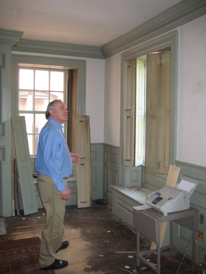 Bob intends to restore this bedroom to the way it looked when George Washington was a guest here.  He's working on the window shutters.