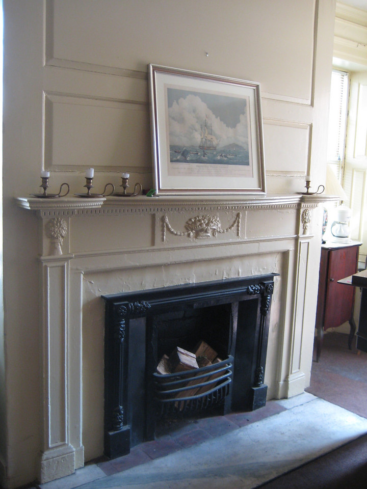 South west room.   Fireplace mantel by Samuel McIntire  -- his woodcarving still beautiful even under 200 years of paint.