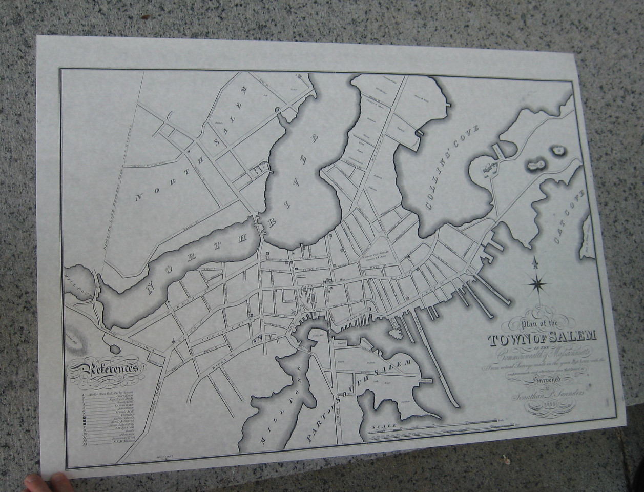 Copy of an 1820 map of Salem surveyed by Jonathan P. Saunders