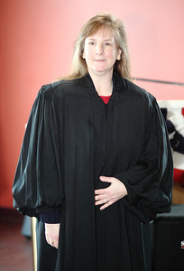 Judge Lisa Swenski wears her new robe as judge for the first time. photo by Ray Riedel