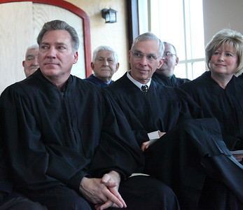 Lorain County judges attend the swearing in ceremony for Judge Lisa Swenski. Seen in the front row are Judges: Ray Ewers, Jim Miraldi, and Debra Boros. photo by Ray Riedel