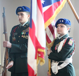 Lorain High Junior ROTC members; Captain Luis Maldonado and Lt.  Colonel Selena Gutierrez serve on color guard. Not shown are corporal Alberto Otero, and Captain Amanda Marrero. photo by Ray Riedel