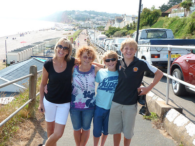 Judith, Fran & two of her sons at Budleigh 2013.