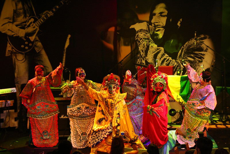 Traditional Chinese dancers perform during intermission at the Julian Marley show at Star Live in Beijing.