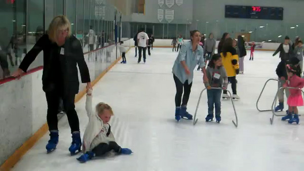 Video of first time on ice.  She makes some progress as the clips progress.