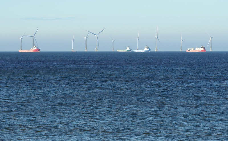 Aberdeen Bay wind farm from Fittie - 4th July 2018