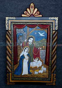 A retablo by Catherine Robles-Shaw at Spanish Market on July 25, 2010, in downtown Santa Fe.                   Luis Sanchez Saturno/ The New Mexican.