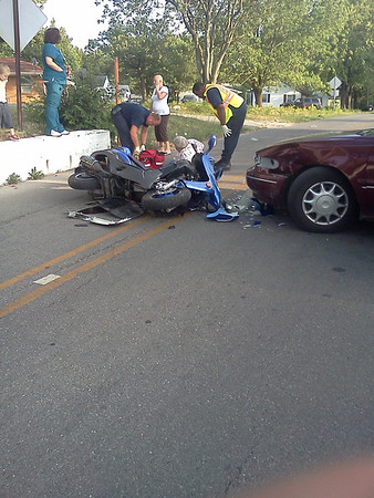 Marine Drive accident, in front of Oddfellows Lodge. Car vs. moped.<br /> <br /> Photographer's Name: Juan Yanez<br /> Photographer's City and State: Anderson, IN