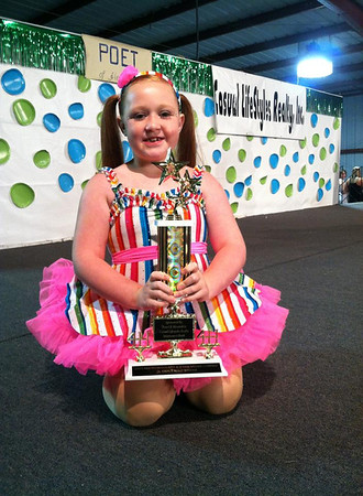 Kayla Porter, daughter of Matt Porter & Kira Smith of Yorktown, recently won first place in the talent show at the Madison County 4-H Fair for her tap solo. Kayla dances at Dazzle Dance & Cheer in Muncie. She absolutely LOVES to dance! Kayla is the granddaughter of Marina Fite, Tami Ward-Bair, Steve Fite, Mike & Judy Porter and Eddie Smith.  <br /> <br /> Photographer's Name: Marina Fite<br /> Photographer's City and State: Anderson, Ind.