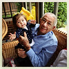 The oldest and the youngest members of our family! Art Stepp (of Art's Trim Shop) holds his great-great granddaughter Emma Kate.<br /> <br /> Photographer's Name: Kathy Wehrley<br /> Photographer's City and State: Anderson, Ind.