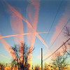 Sunrise on the jet streams over Ft. Wayne.<br /> Photo by Wiletta Blevins
