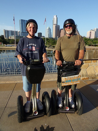 Riding Segways with daughter Stefanie Pantalone in Austin, TX.<br /> <br /> Photographer's Name: Dennis Kumkowski<br /> Photographer's City and State: Anderson, IN