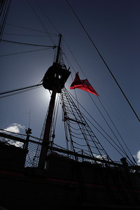 Tall Ship with wonderful red flag.