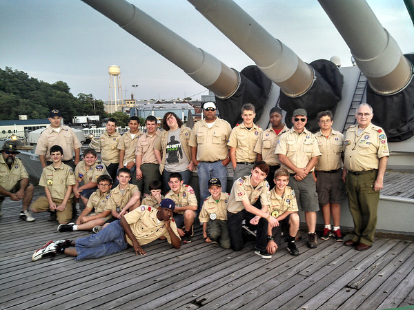 Boy Scout Troop 253, First Baptist Church of Anderson, on the USS New Jersey Battleship<br /> <br /> Photographer's Name: Jim Wehrly<br /> Photographer's City and State: Anderson, Ind.