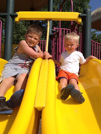 Sully Stahl and Owen Wilson (cousins) at Shadyside on the first day of summer!<br /> <br /> Photographer's Name: Kristen Stahl<br /> Photographer's City and State: Anderson, Ind.