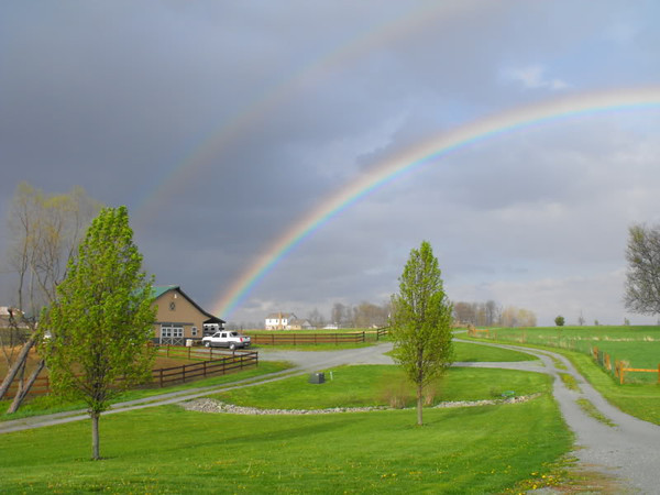"""""""Rewards of Spring:"""" My barn at the end of the rainbow in Richland Township.<br /> <br /> Photographer's Name: J.R.  Rosencrans<br /> Photographer's City and State: Alexandria, Ind."""