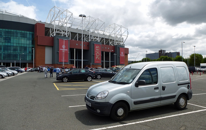 Van at Old Trafford before Man Utd v Real Madrid Legends match on Sunday 2nd June 2013