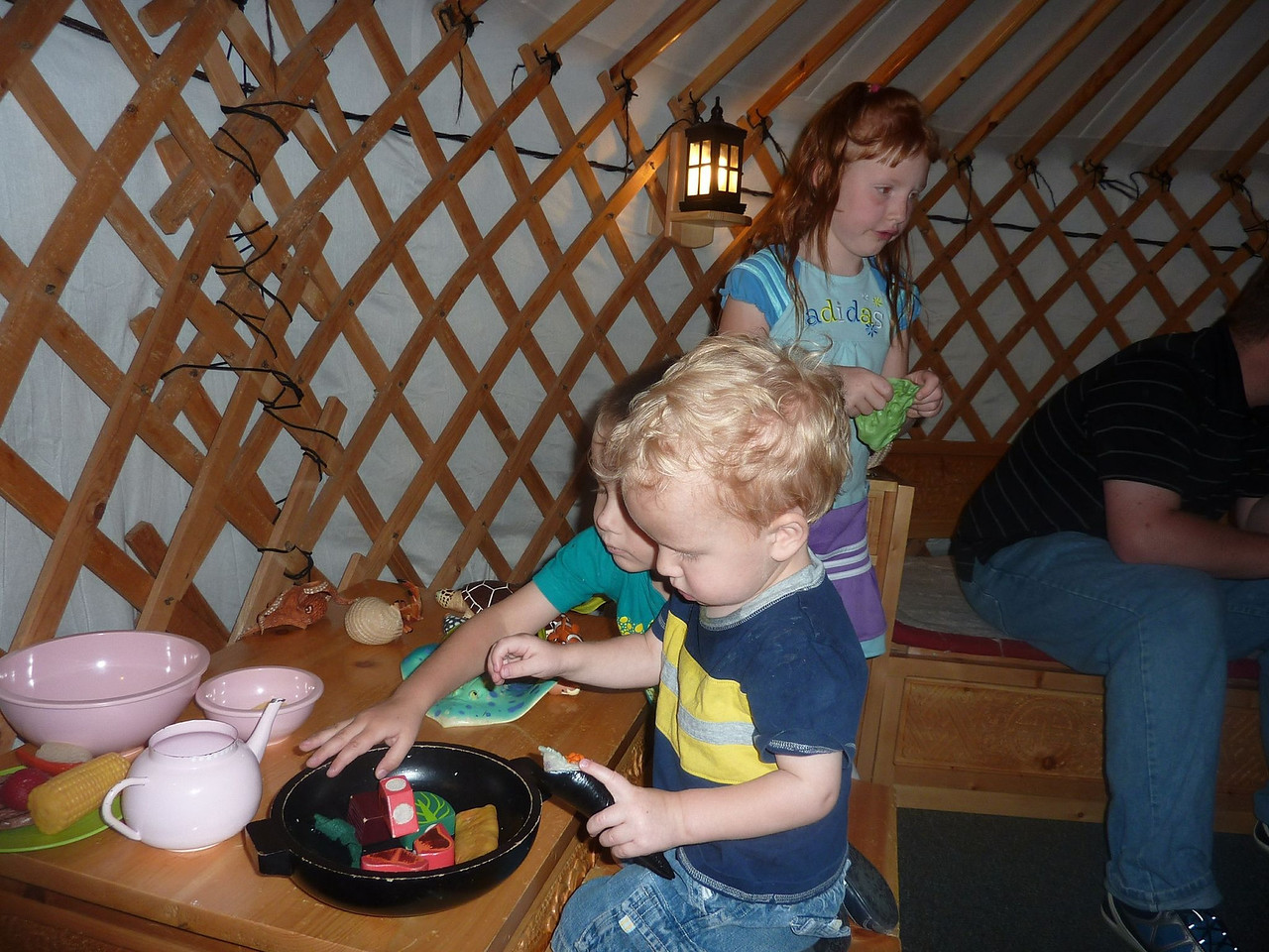 "Kids ""cooking"" in the Mongolian ger at the Treehouse"