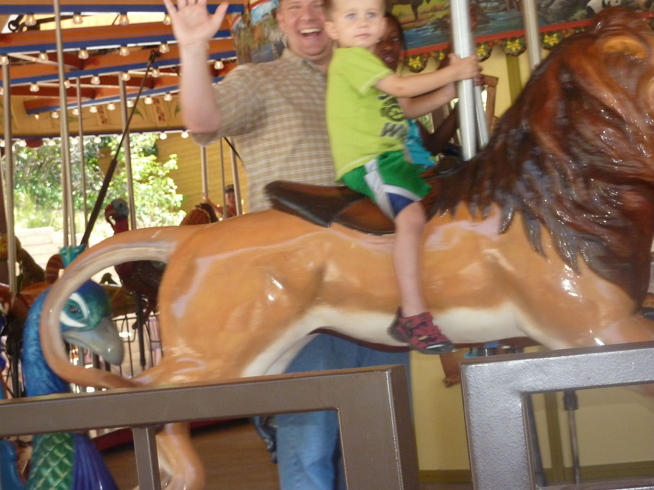 Michael and Paul on the carousel