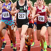 6-1-13<br /> Girls state track and field<br /> Bethany Neeley leads the pack during the 1600 meter run on Saturday evening during the girls state track and field meet.<br /> KT photo | Kelly Lafferty