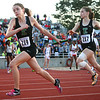6-1-13<br /> Girls state track and field<br /> Jessie Sprinkles takes the baton from Bethany Neeley during the 1600 meter relay.<br /> KT photo | Kelly Lafferty