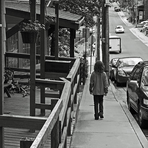 My daughter on a downtown back street.