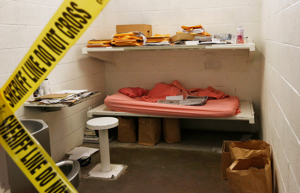 . The cell of convicted killer Jodi Arias at the Maricopa County Sheriffs Office Estrella Jail, on Thursday, May 16, 2013, in Phoenix. Arias was convicted of first-degree murder in the gruesome killing of her one-time boyfriend, Travis Alexander, in their suburban Phoenix home. (AP Photo/Ross D. Franklin)