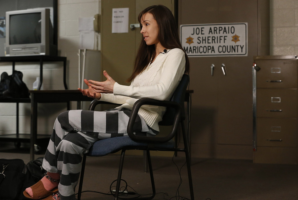 . Convicted killer Jodi Arias speaks during an interview at the Maricopa County Estrella Jail on Tuesday, May 21, 2013, in Phoenix.  Arias was convicted recently of killing her former boyfriend Travis Alexander in his suburban Phoenix home back in 2008, made a plea for life in prison, instead of execution, saying she can contribute to society if allowed to live. (AP Photo/Ross D. Franklin)