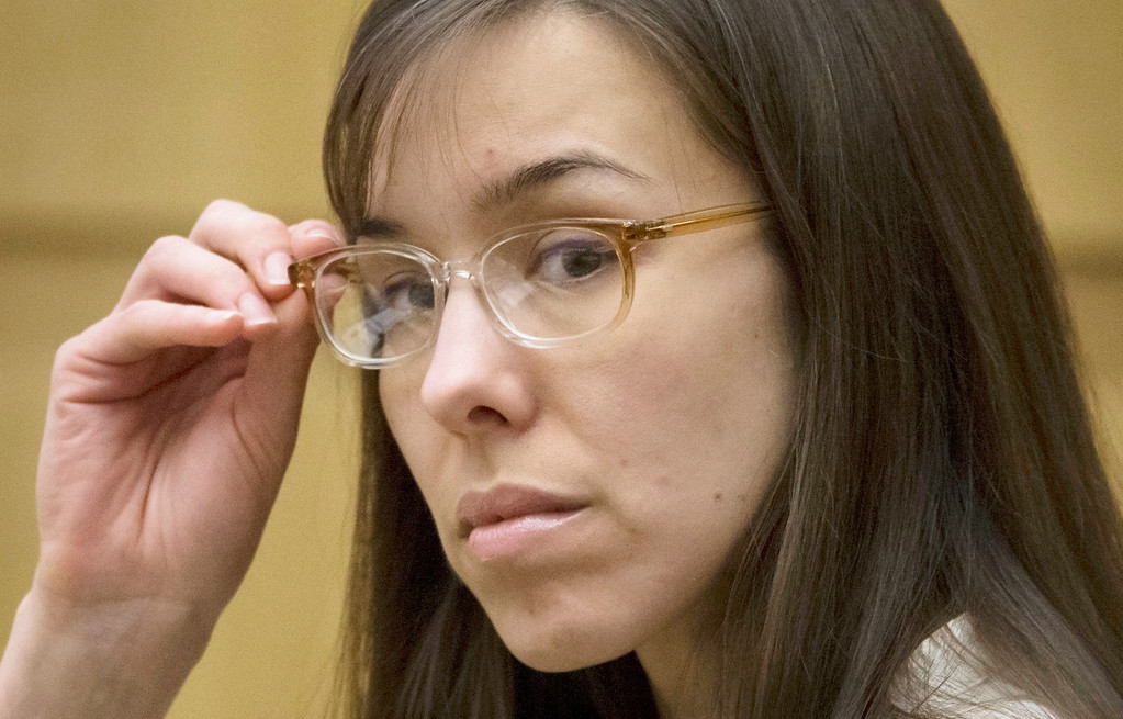 . Defendant Jodi Arias sits in the courtroom during her trial at Maricopa County Superior Court in Phoenix on Wednesday, May 1, 2013.  Arias is charged with first-degree murder in the stabbing and shooting death of Travis Alexander, 30, in his suburban Phoenix home in June 2008.  (AP Photo/The Arizona Republic, Mark Henle, Pool)