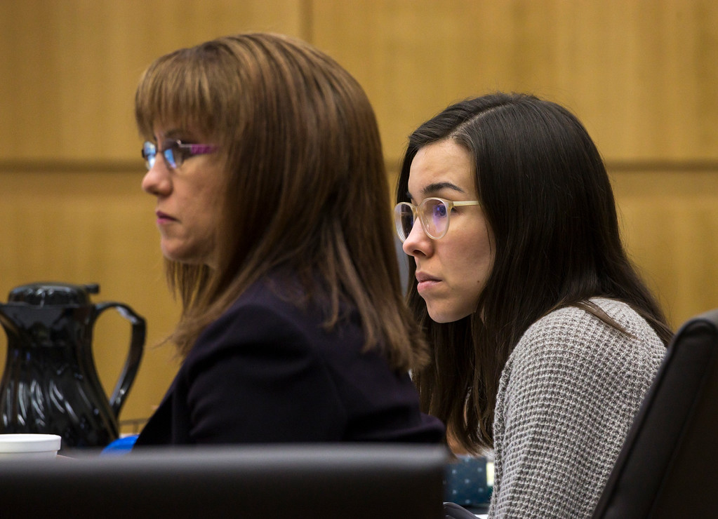 . Defense attorney Jennifer Willmott, left,) and Jodi Arias listen to final arguments during the sentencing phase of her retrial at Maricopa County Superior Court, Tuesday, Feb. 24, 2015 in Phoenix. (AP Photo/The Arizona Republic, Mark Henle, Pool)